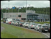 Реклама на границе с Финляндией. КПП Брусничное